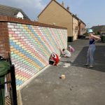 Chalked rainbow wall