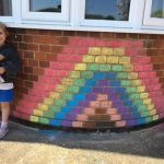 Rainbow chalked on house