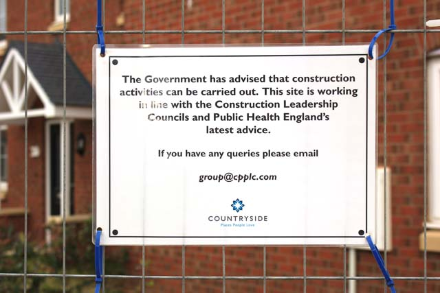 Safety signs on the new housing estate